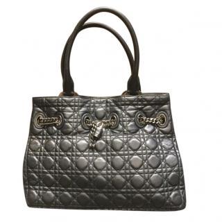 Christian Dior black cannage leather shoulder bag