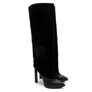 Jimmy Choo Black Suede & Leather Tall Boots