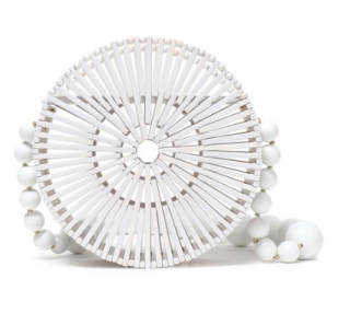 Cult Gaia White Circular Bamboo Shoulder Bag