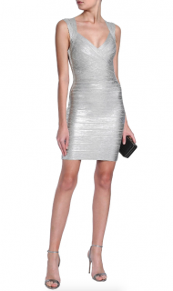 Herve Leger Metallic Open Back Bandage Mini Dress