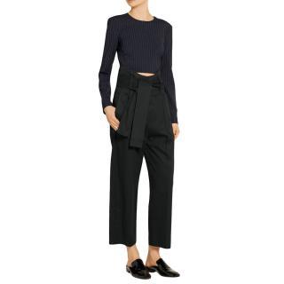 MM6 black cotton gabardine pants