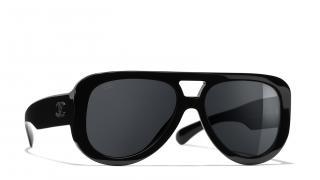 Chanel black pilot acetate C.501 T8 sunglasses