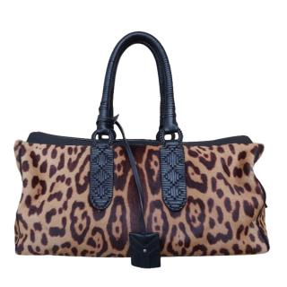 Yves Saint Laurent leopard print pony-hair shoulder bag