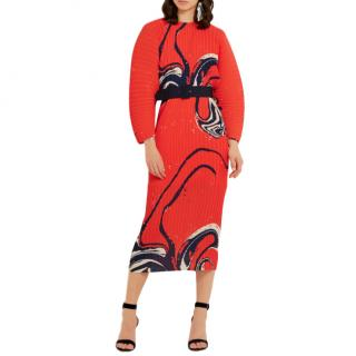 Solace Orange Singer Print Belted Midi Dress