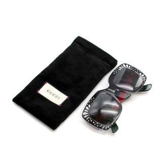 Gucci Square Crystal Embellished Oversized Web Sunglasses