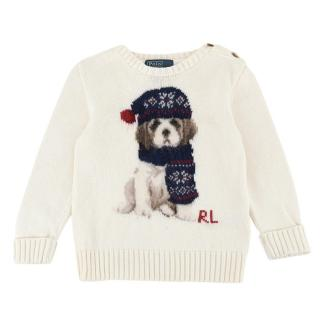 Polo Ralph Lauren Cream Cotton Knit Dog Jumper