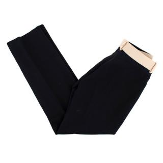 Christian Dior Black Tailored Contrast Waistband Trousers