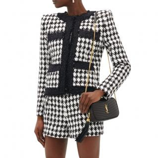 Balmain black & white houndstooth tweed jacket