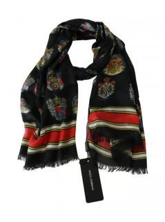 Dolce & Gabbana Cashmere Blend Black Printed Scarf