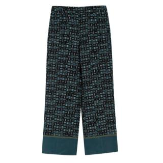 Loro Piana Emerald Patterned Silk Pants