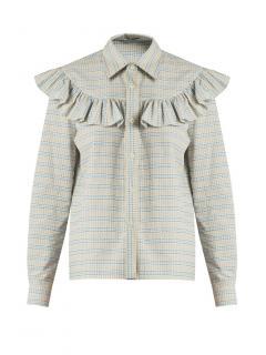 Miu Miu beige & blue checked cotton shirt