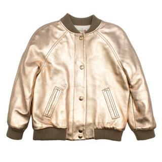 Bonpoint Leather Gold Bomber Jacket