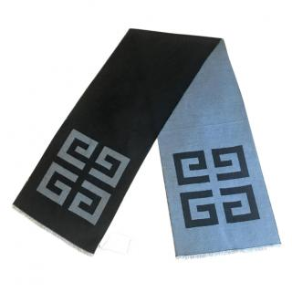 Givenchy black & grey wool blend reversible scarf