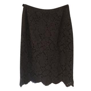 Chanel black lace cotton skirt