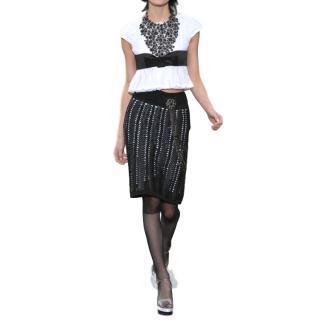 Chanel black ribbon weave skirt