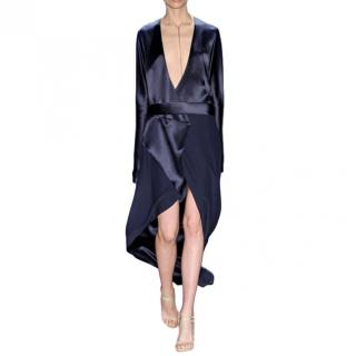 Dion Lee Navy Silk-Satin Bias Wrap Dress