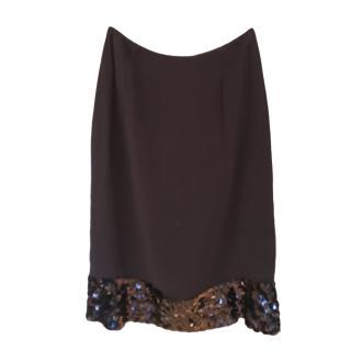 Chanel black silk sequin detail skirt