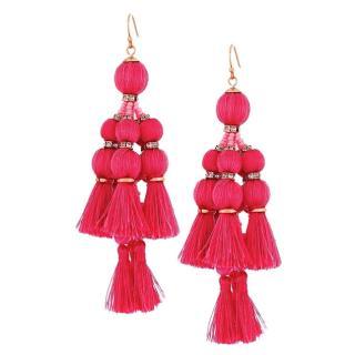 Kate Spade pink pretty poms tassel earrings