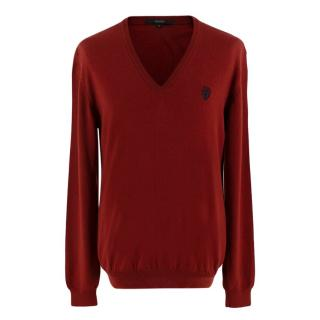 Gucci Dark Red V-neck Wool Jumper