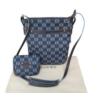 Loewe blue logo coated canvas crossbody bag
