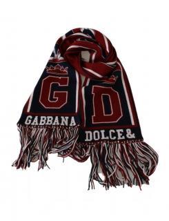 Dolce & Gabbana black & red cashmere Royal Love fringe scarf