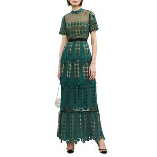 Self Portrait Green Teardrop lace maxi dress