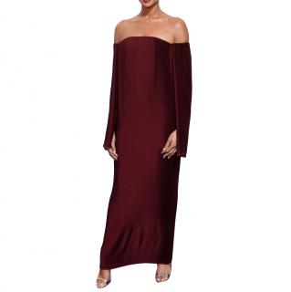Dion Lee Burgundy Caped Pleated Off-Shoulder Maxi Dress