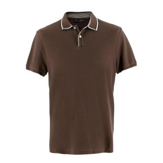 Loro Piana Brown Soft Cotton Polo Top