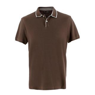 Loro Piana Brown Soft Cotton Polo Top