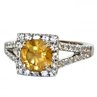 Bespoke 18ct white gold & 1.28ct yellow diamond halo ring