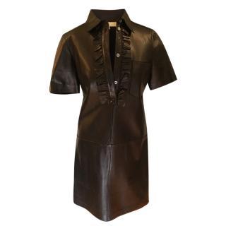 Michael Kors black leather ruffle mini dress