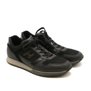 Hogan Black Leather Techno Fabric Lace Up Sneakers