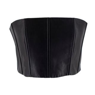 Alice + Olivia Black Leather Strapless Schultz Top