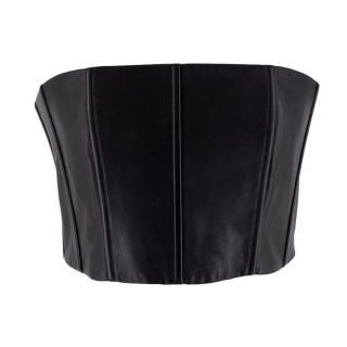 Alice + Olivia Black Leather Strapless Schultz Top