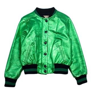 Bonpoint Metallic Green Textured Leather Bomber Jacket