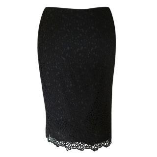 Valentino black cotton lace skirt