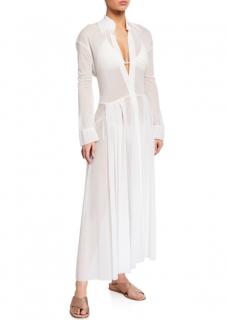 Norma Kamali Pleated Sheer Cover-Up Dress