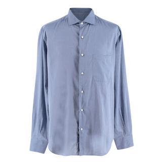 Loro Piana Blue Cotton Men's Classic Shirt