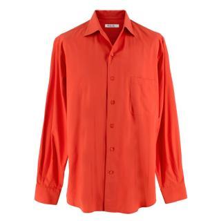 Loro Piana Coral Orange Cotton Tailored Shirt