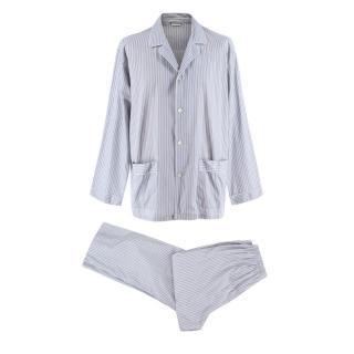 Zimmerli Blue Striped Cotton Pyjama Set