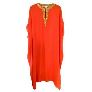 Elizabeth Hurley orange silk embroidered beach kaftan L/XL