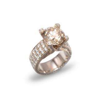 Bespoke 19ct Gold 5.5ct Fancy Champagne Diamond Ring