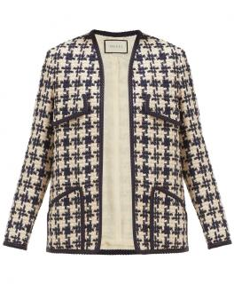 Gucci navy & white houndstooth tweed jacket