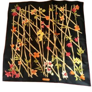 Salvatore Ferragamo black floral silk scarf