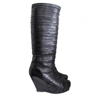 Rick Owens Black Calf Leather Multi Strap Wedge Boots