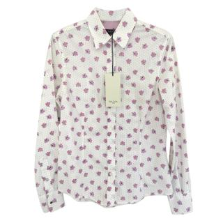 Paul Smith Black Label white floral cotton shirt