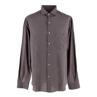 Loro Piana Taupe Mens Tailored Cotton Shirt