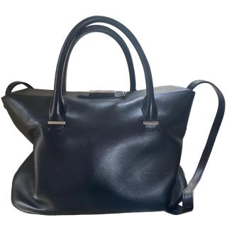 The Row black leather shoulder bag