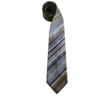 Kenzo blue striped silk slim tie