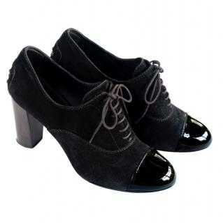 Tods black suede & patent leather lace-up heeled boots